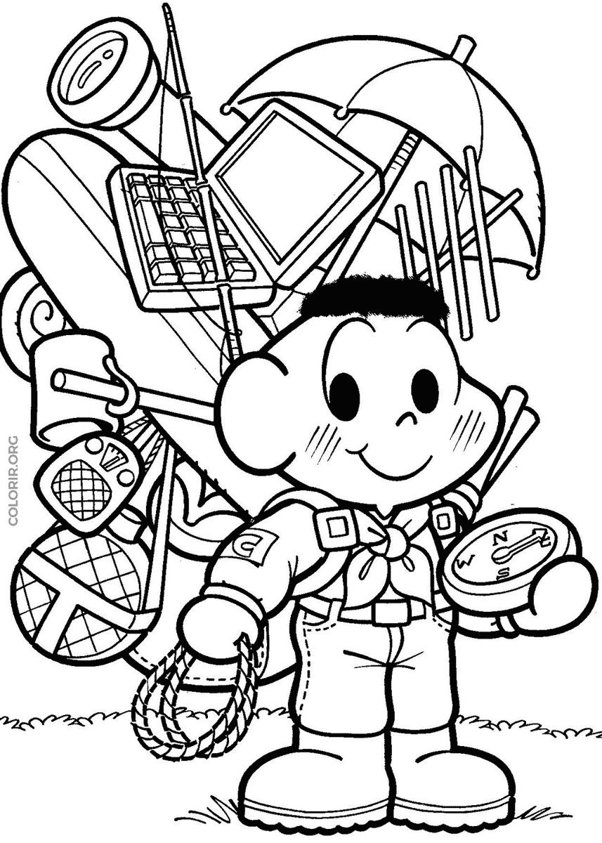 Desenho do Cascão de escoteiro para colorir