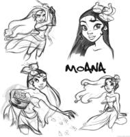 Desenhos a mão de Moana