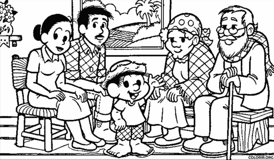 Família do Chico Bento para colorir