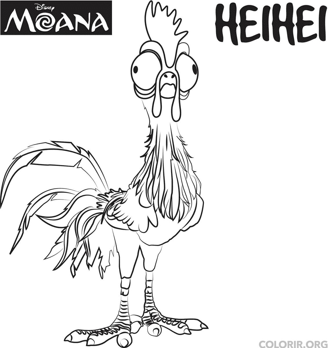 heihei o galo de moana para colorir online colorirorg sketch
