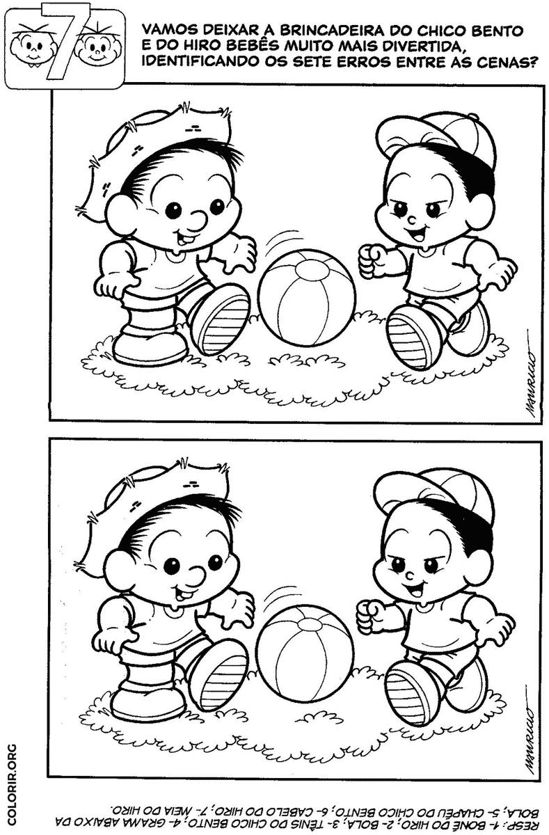 Jogo dos 7 erros do Chico Bento baby jogando futebol