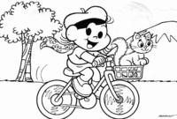 Magali andando de bicicleta com Mingau