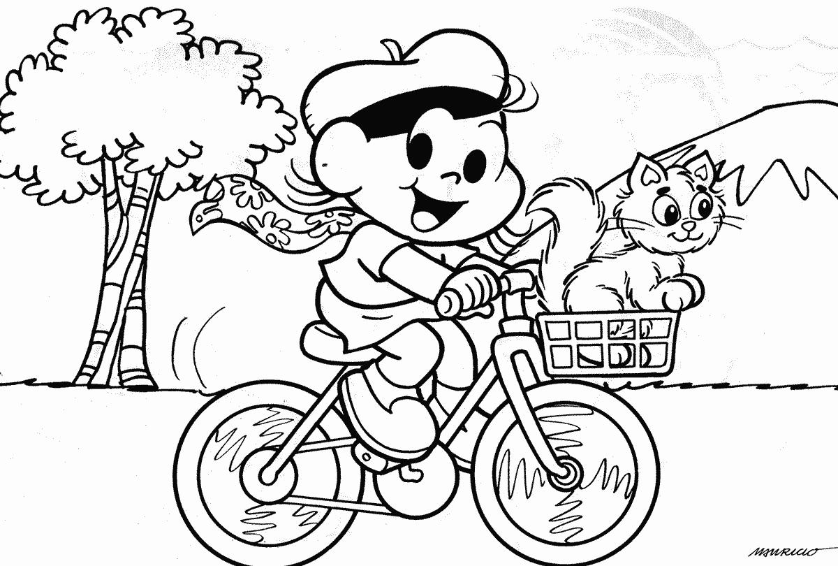 Desenho da Magali andando de bicicleta com Mingau