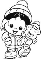 Desenho da Magali Baby com ursinho para colorir