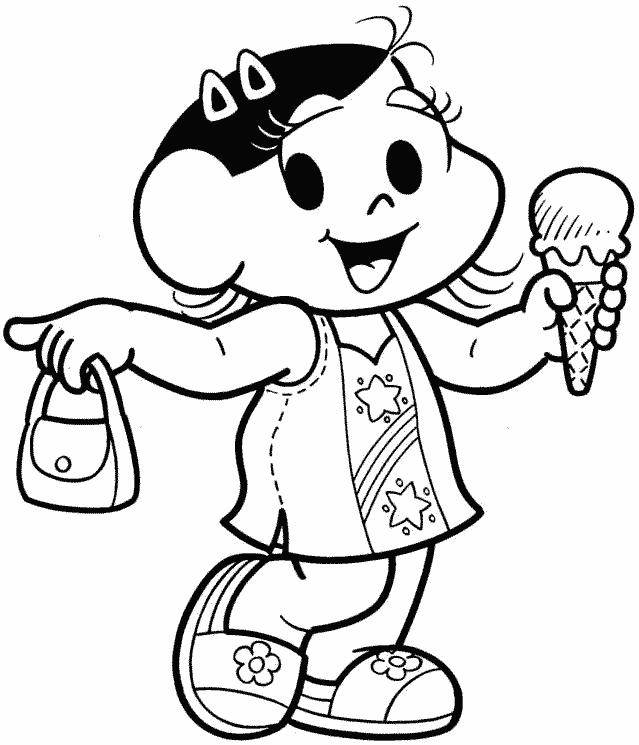 Magali com sorvete e bolsa passeando