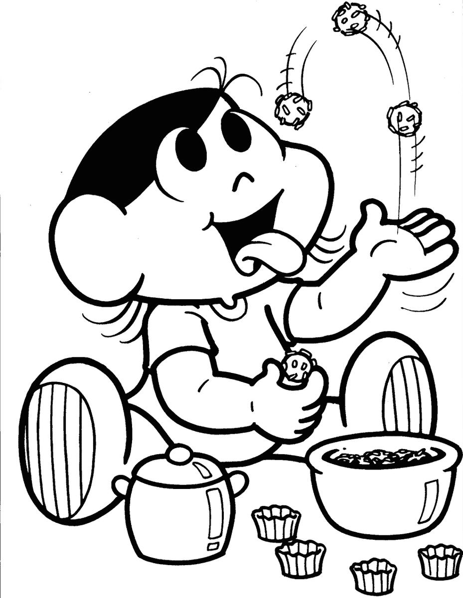 Desenho da Magali comendo brigadeiro