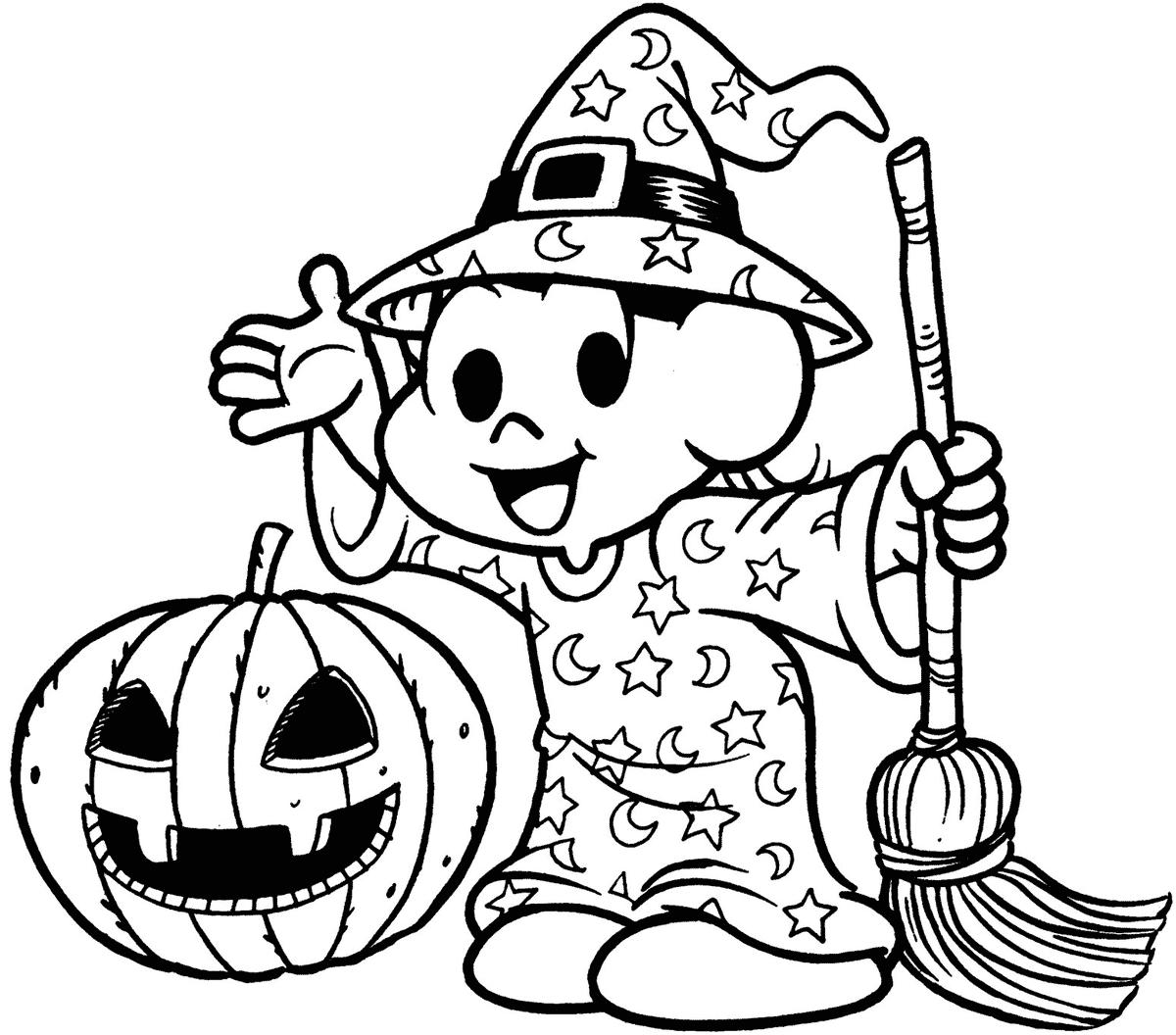 Desenho da Magali de bruxa para halloween