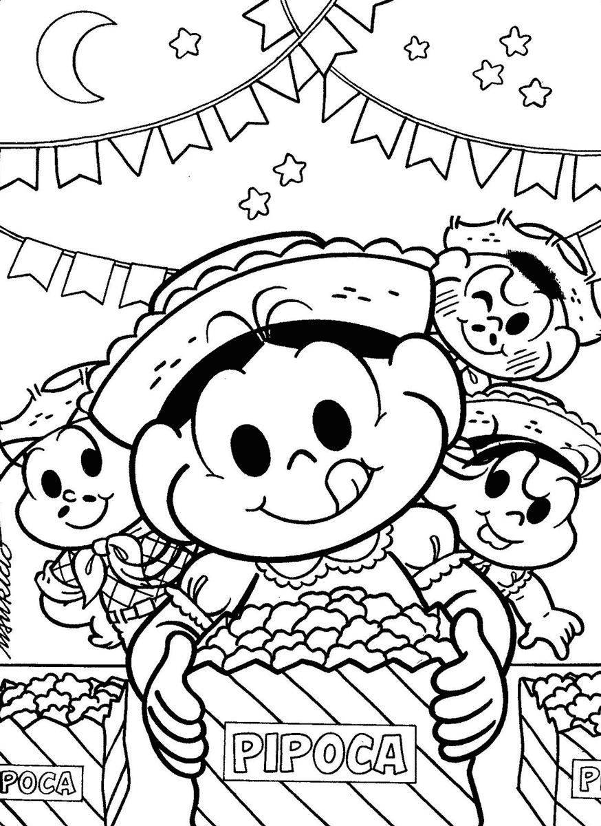Desenho da Turma da Mônica na Festa Junina