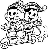 Desenho da Magali e Cebolinha na Festa Junina para colorir