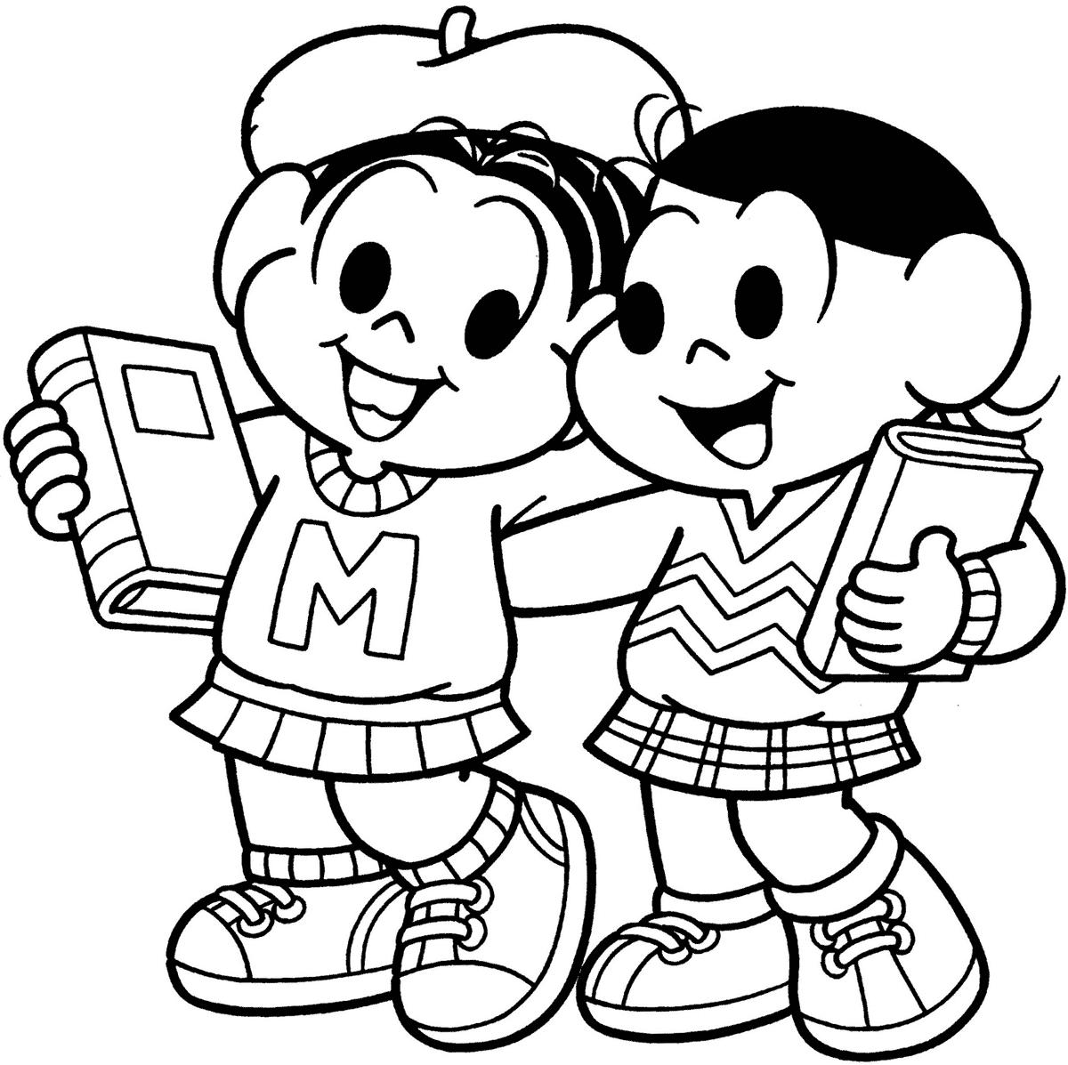 Desenho da Magali e Mônica na escola para colorir