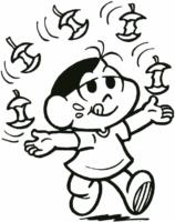 Magali fazendo malabarismo com maças