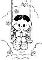 Desenho da Magali lendo livro no balanço