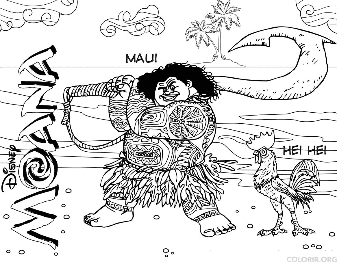 Maui e Heihei para colorir online