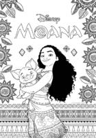 Poster de Moana e Pui, o porquinho, para colorir