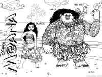 Moana, Maui, Heihei e Pui para colorir