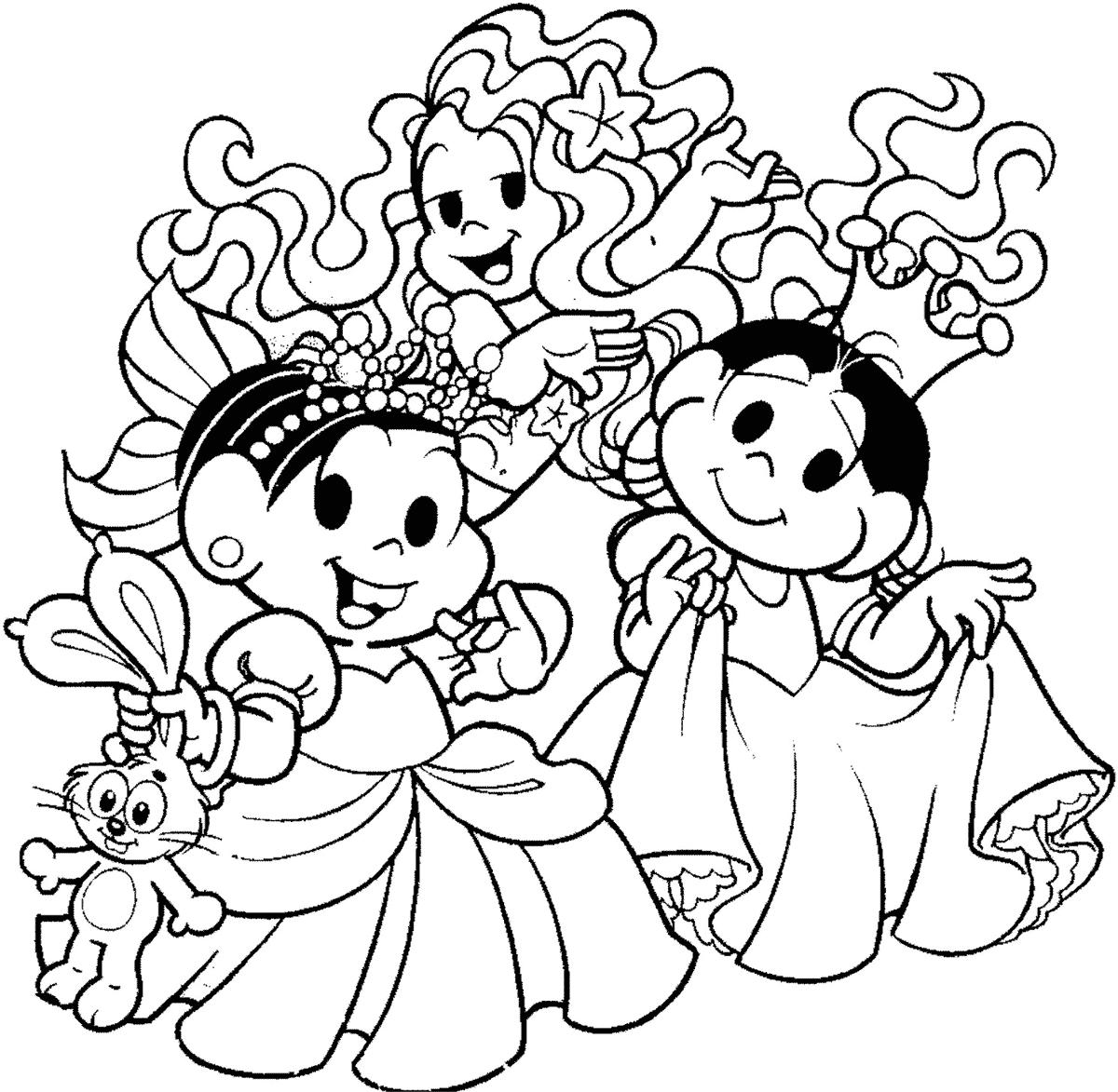 Mônica e Magali como princesas para colorir