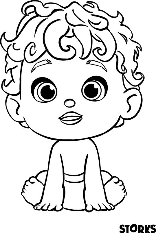 O bebê, de Cegonhas, para colorir