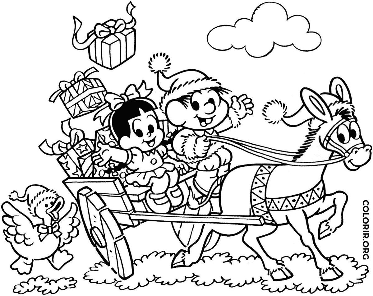 Treno de Natal do Chico Bento para colorir