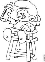 Bebê Smurf tomando mamadeira