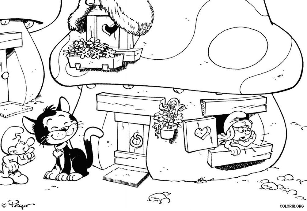 Casa da Smurfette na Vila Smurf para colorir
