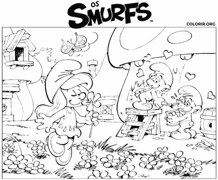 O Mundo Smurf para colorir