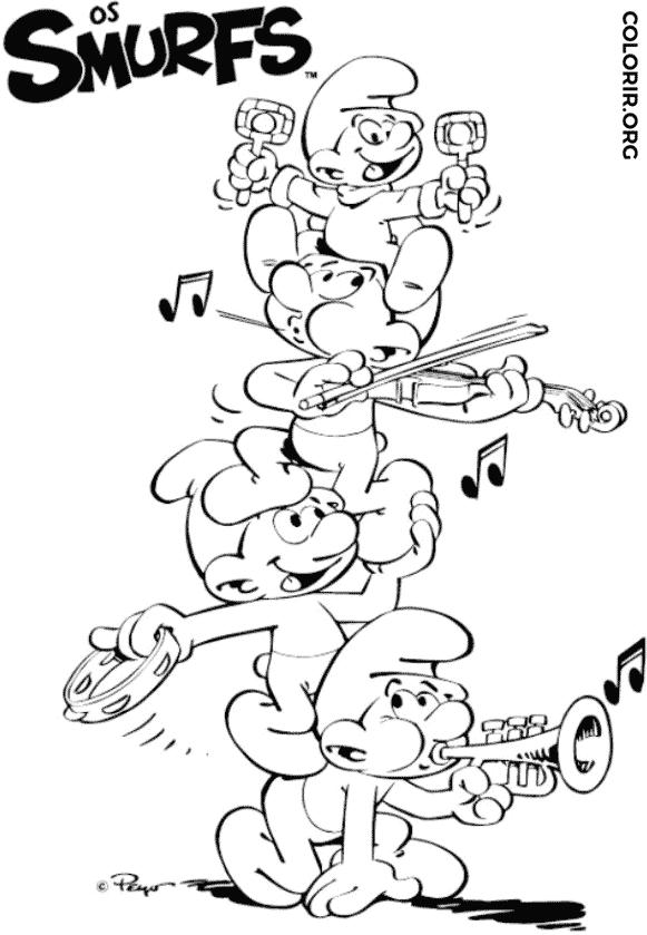 Os Smurfs tocando música