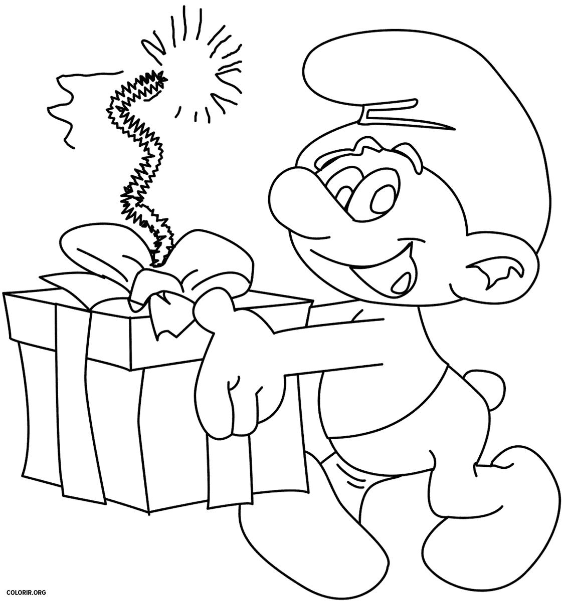 Smurf com presente de aniversário