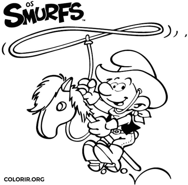 Smurf cowboy para colorir