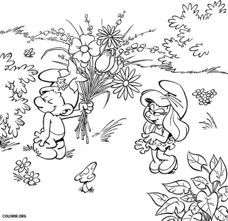 Smurf com buquê de flores para colorir