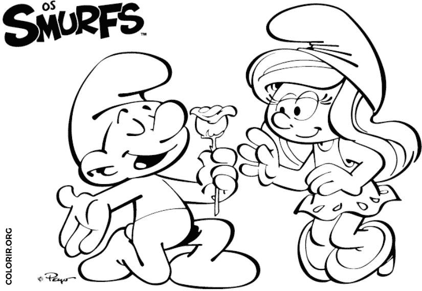 Smurf entregando flor para Smurfette