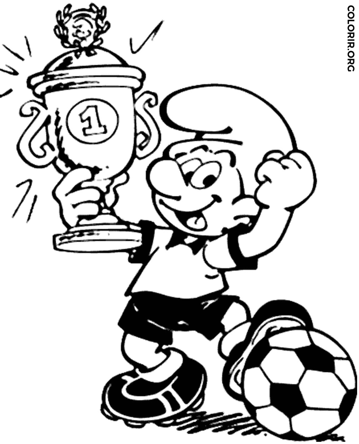 Smurf Jogando Futebol Para Colorir