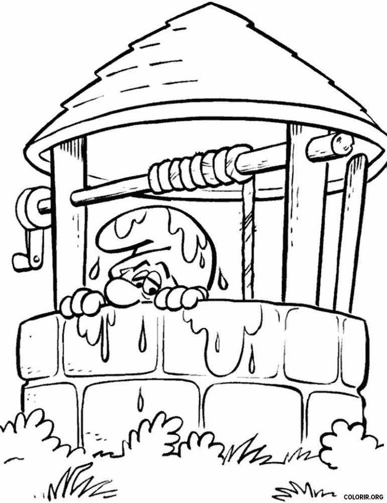 Smurf no poço de água
