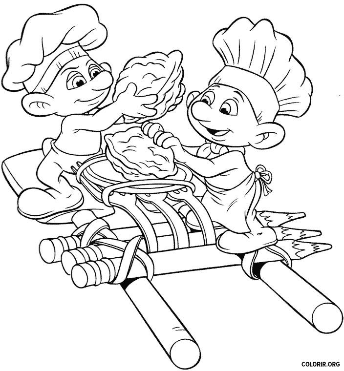 Smurfs fazendo arte com tortas