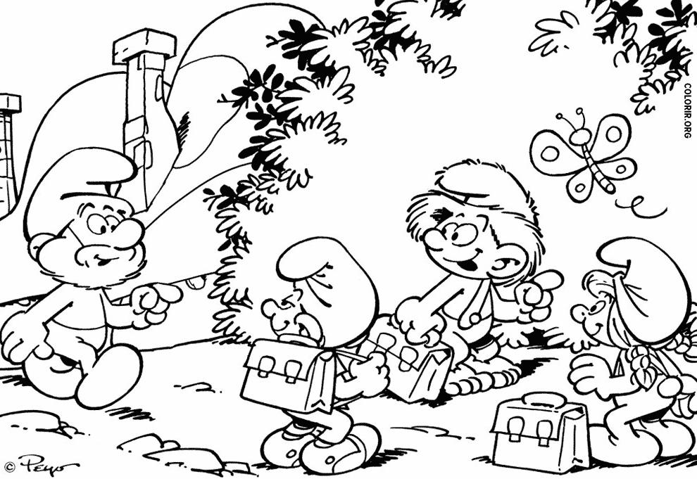 Desenho dos Smurfs indo ao trabalho