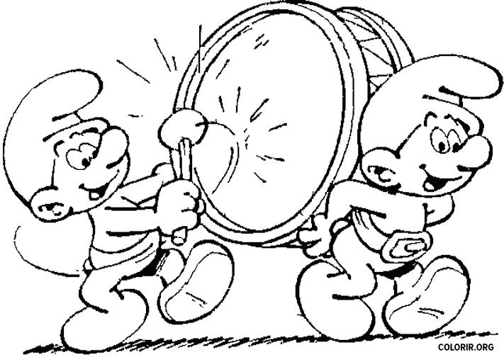 Smurfs tocando tambor