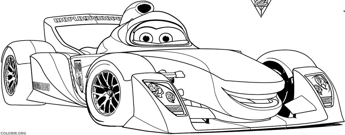 Carro de corrida para colorir