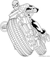 Desenho do Homem Aranha e sua motocicleta