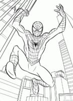 Desenho do Homem Aranha combatendo o crime