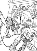 Homem Aranha combatendo vilão no relógio