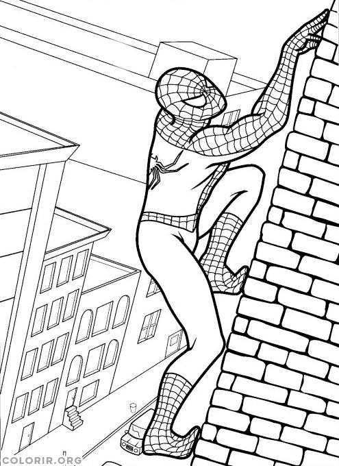 Homem Aranha escalando parede