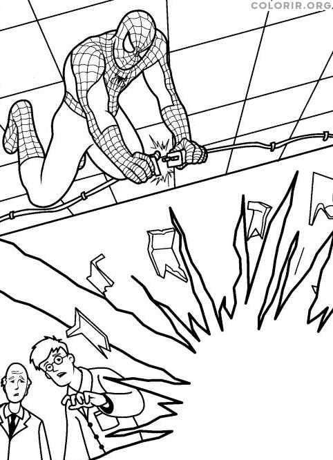 Homem Aranha evitando explosão
