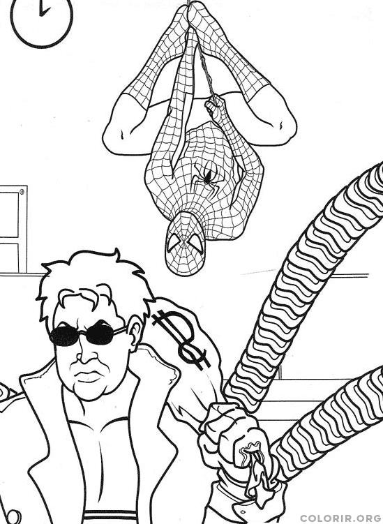 Homem Aranha evitando roubo de banco