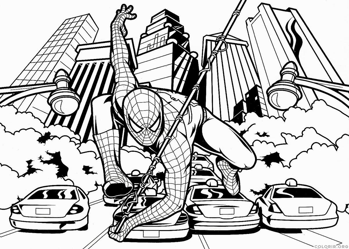 Desenho do homem aranha na cidade para colorir