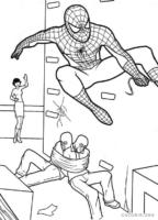 Homem Aranha prendendo ladrões