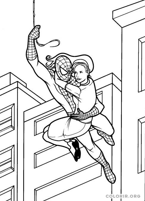 Homem Aranha salvando mocinha