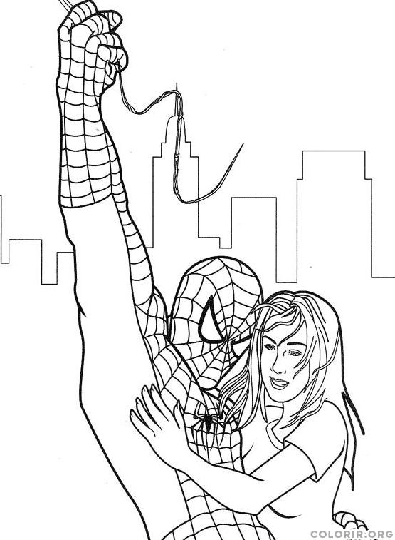 Homem Aranha salvando mulher