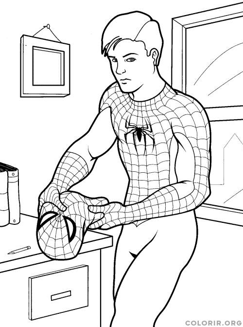 Peter Parker Sem Mascara Colorir Org