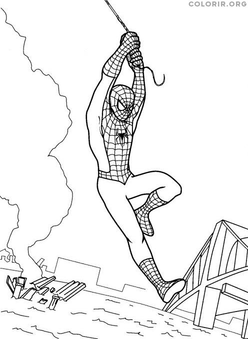 Homem Aranha voando com sua teia