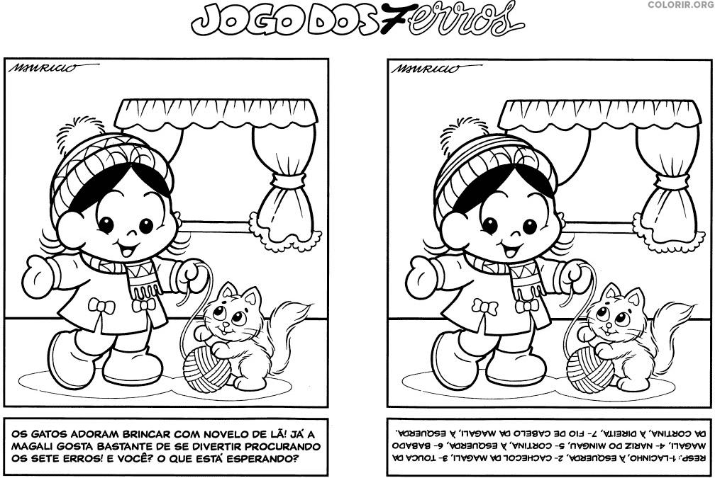 Jogo dos 7 erros da Magali Bebê e seu gatinho