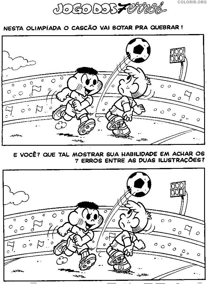 Jogo dos 7 erros do Cascão jogando futebol